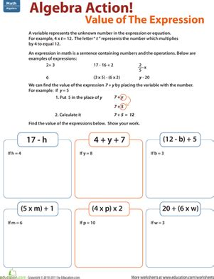 Algebra For 5th Graders Worksheets by Find The Value Of The Expression Worksheet Education