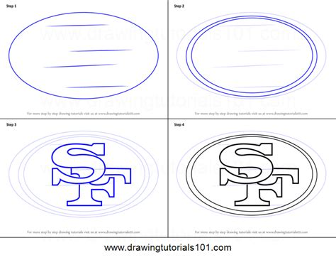 Drawing 49ers Logo by How To Draw San Francisco 49ers Logo Printable Step By