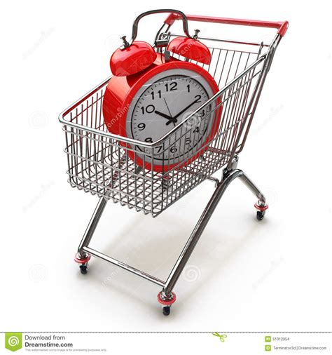 Time To Actually Buy Groceries by Buying Time Concept With Clock And Shopping Cart Stock