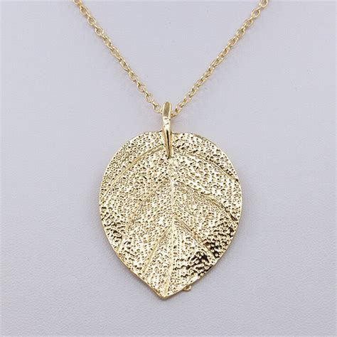 cheap costume jewelry gold color leaf design pendant