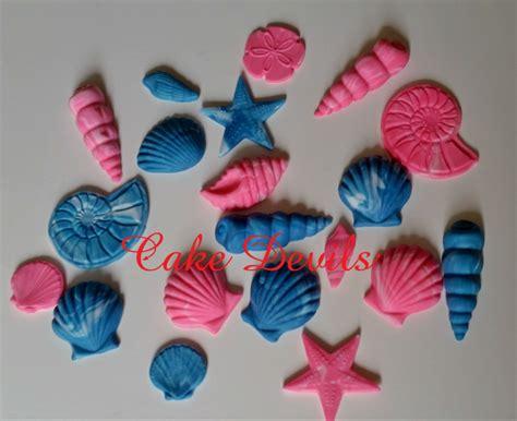Handmade Cupcake Toppers - sea shell cake cupcake toppers handmade edible fondant