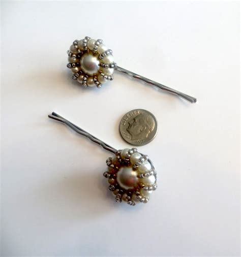 Faux Pearl Hair Pin faux pearl and bead hair pins upcycled vintage earrings