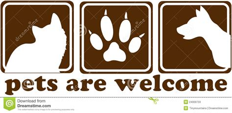 pets are welcome sign stock illustration image of