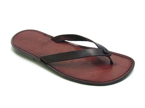 Handmade Leather Flip Flops - handmade brown leather thongs flip flops sandals for