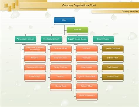 Sle Organization Chart Template With Function Chief Org Chart Organizational Chart Pinterest