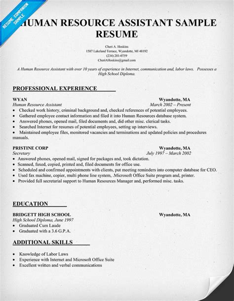 Resume Summary Exles Human Resources Assistant Career Objective Exles Human Resources