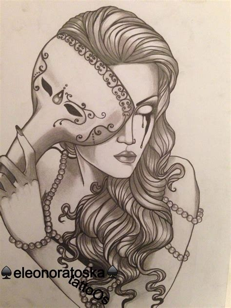 masquerade mask tattoo designs neotraditional design by eleonora toska