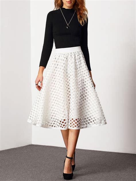 white high waist eyelet skirt makemechic
