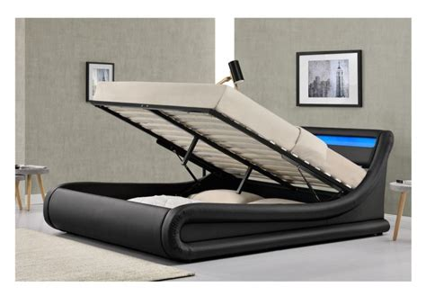 bed frame with led lights design madrid 4ft6 black faux leather ottoman