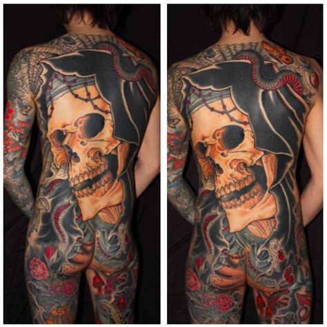 Design Your Space finished reaper tattoo back piece for zac chris o