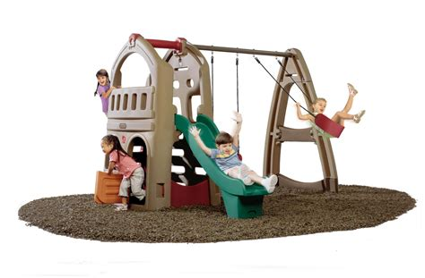 step 2 plastic swing set step 2 naturally playful playhouse climber and swing
