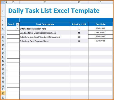 task planner excel template 5 daily task list template authorizationletters org