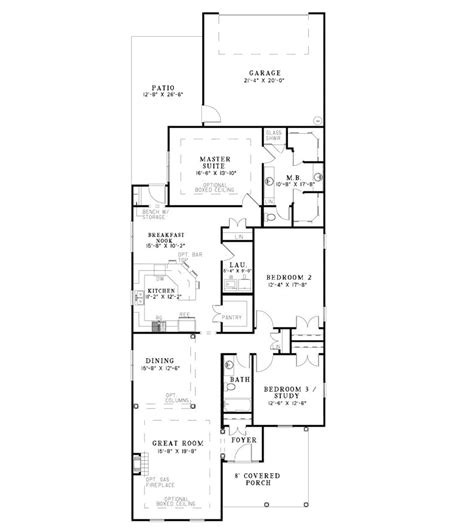 long house plans hawkins corner narrow lot home plan 055d 0869 house
