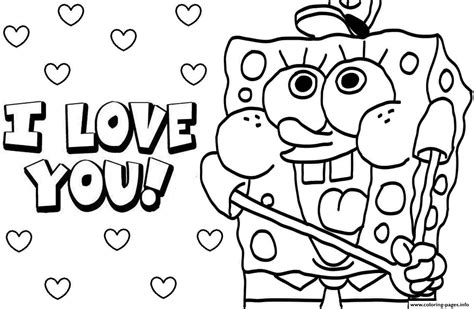 love you coloring pages print sponge bob i love you valentine day coloring pages printable