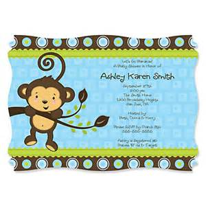 blue monkey boy personalized baby shower invitations bigdotofhappiness