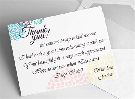 thank you cards for bridal shower template bridal shower thank you card ideas