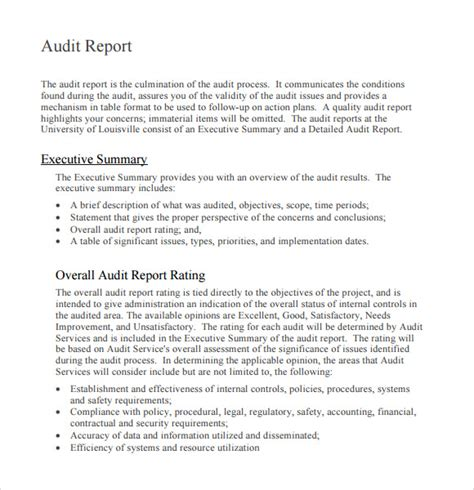 sle of audit report format sle audit report 6 documents in pdf