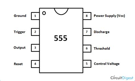 555 integrated circuit pins 555 timer astable multivibrator circuit diagram