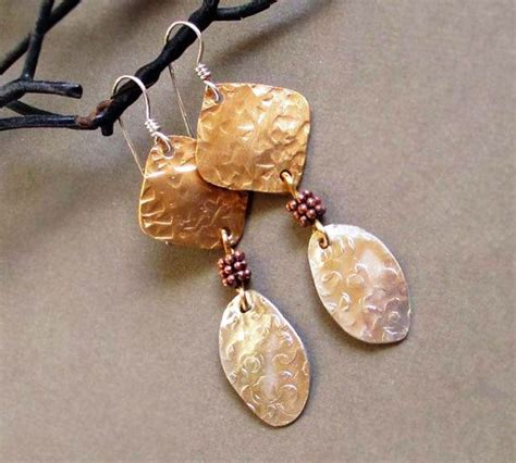 Copper Handmade Jewelry On Etsy - mixed metal earrings in hammered sterling silver brass and