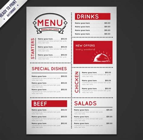 restaurant menu templates free 26 free restaurant menu templates to