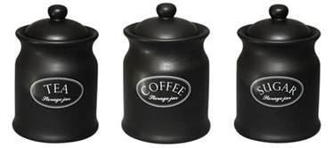 Black Ceramic Kitchen Canisters by Tuftop Company Ascot Black Tea Coffee Amp Sugar Storage