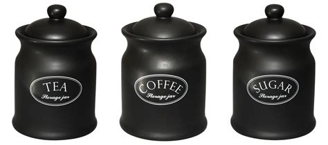 black ceramic kitchen canisters tuftop company ascot black tea coffee sugar storage