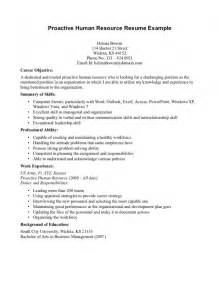 human resources resume objective exles sles of resumes