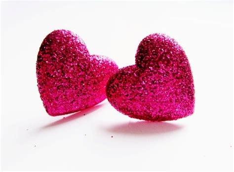 pink hearts bright pink glitter earrings sterling silver stud