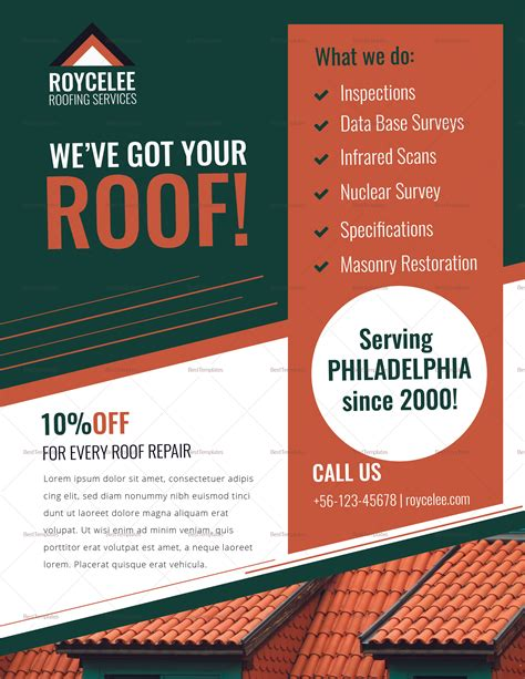 Roofing Services Flyer Design Template In Psd Word Publisher Illustrator Indesign Roofing Flyer Templates