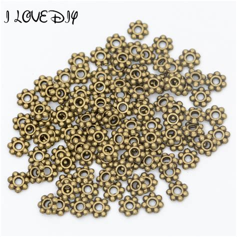 spacers for jewelry wholesale 100pcs 6mm spacers flower metal gold