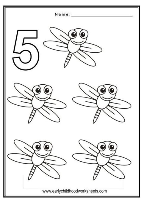Number 5 Coloring Pages For Toddlers by Coloring Numbers Bugs Theme Tvoreni