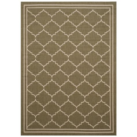 Safavieh Courtyard Green Beige 8 Ft X 11 Ft Indoor Outdoor Rugs Home Depot
