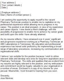 Cover Letter For A Pharmacy Technician by Pharmacy Technician Cover Letter Sle