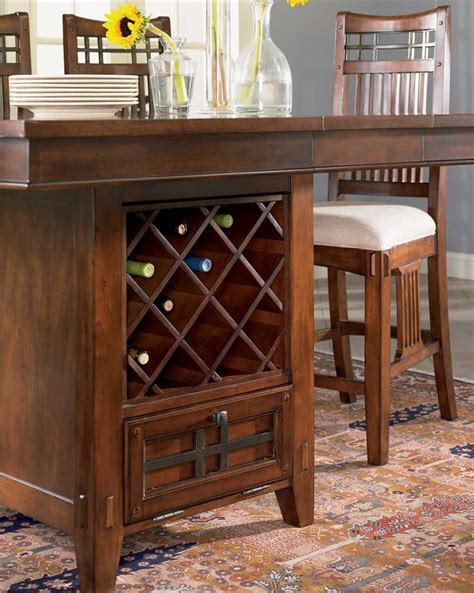 dining room table with wine rack pub table also has a wine rack in the base so that you can