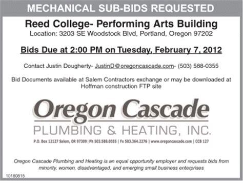 Cascade Plumbing by Oregon Cascade Plumbing Heating Needs Subcontractors For