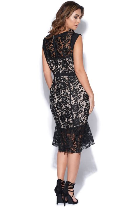 evening dresses dress with peplum hem and lace inserts vestry black lace peplum hem dress at vestry