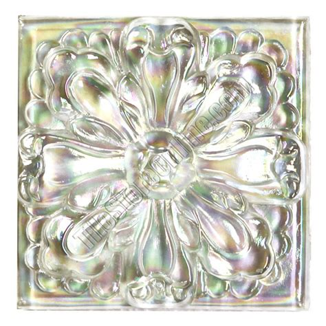 Glass Tile For Kitchen Backsplash Glass Tile Relief Deco 4 X 4 Large Glass Flower Deco