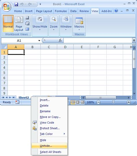 how to select sheets ms excel 2007 unhide a sheet