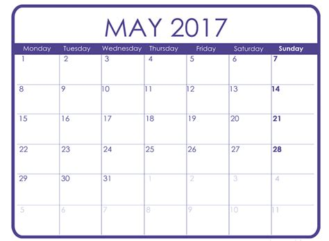 may 2017 printable calendar templates free printable