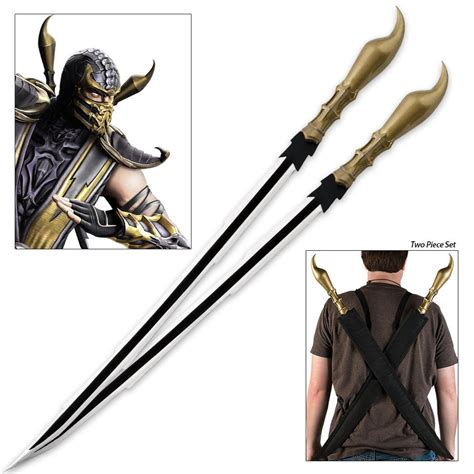 Scorpion Stinger Twin Sword Set With Shoulder Harness