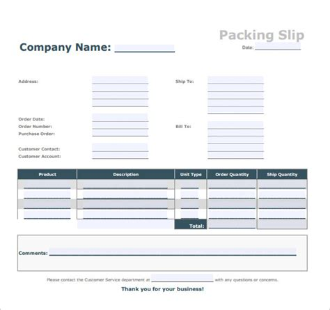 packing slip template docs packing slip sle 6 documents in pdf