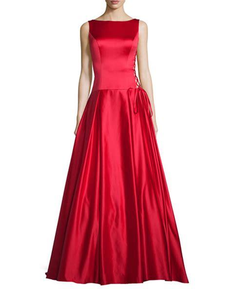 Jovani Sleeveless Pleated Satin Ball Gown, Red   Neiman Marcus
