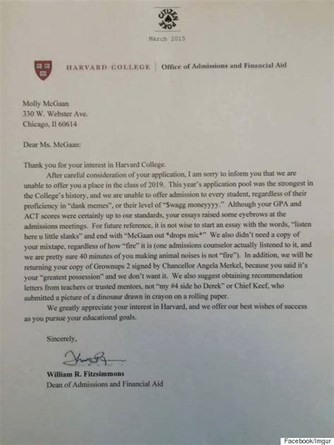 Decline Letter From Harvard Harvard College Rejection Letter Is Causing Some Real Problems For Its Author Molly Mcgaan