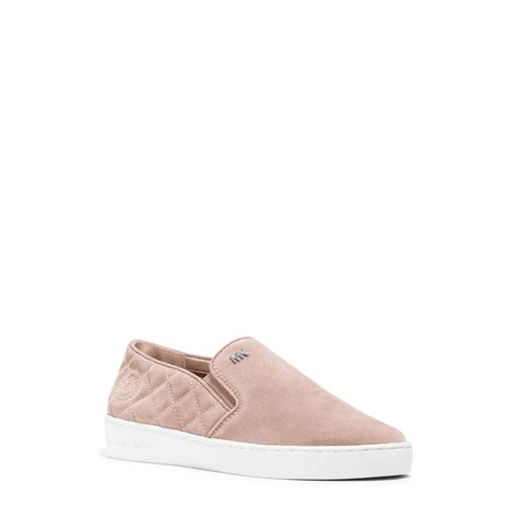 michael kors slip on sneakers michael kors keaton suede slip on sneaker in pink lyst