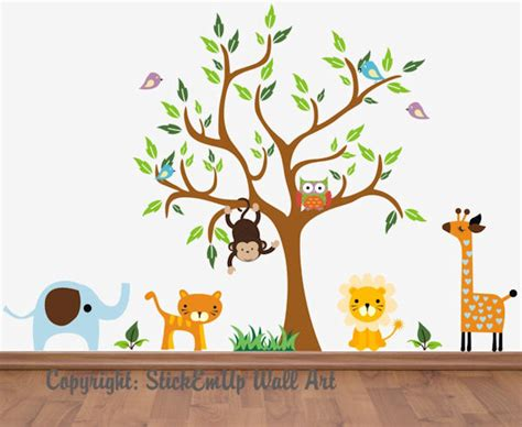 wall decals and murals monkey and owl nursery tree wall mural stickers