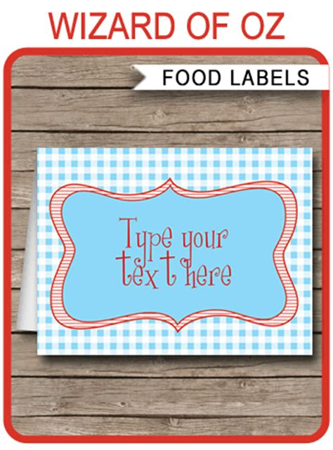 wizard of oz theme food labels template place cards