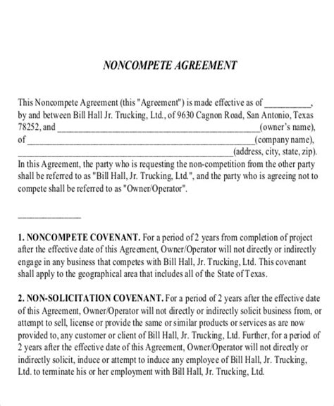 Non Compete Agreement Sle Sle Employee Non Compete Agreements Download Free Premium Standard Non Compete Agreement Template
