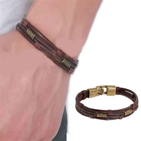 mens vintage leather wrist band brown rope bracelet bangle