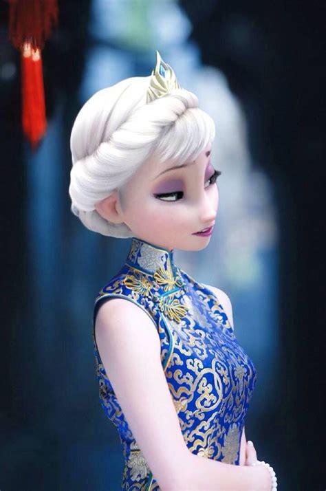hah frozen elsa cheongsam chi pap frozenelsa frozenanna frozenchi pao beautiful you can