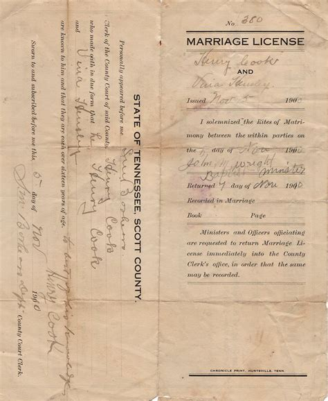 Marriage license for cook county